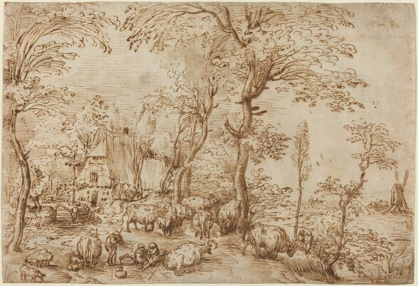 Peasants and Cattle near a Farmhouse