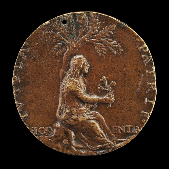 Florence under a Laurel(?) Tree, Holding Three Lilies [reverse]