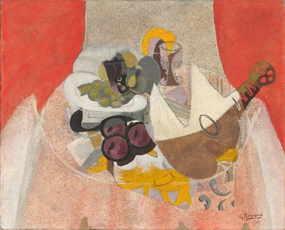 <p>Georges Braque, Fruit, Glass, and Mandolin, 1938