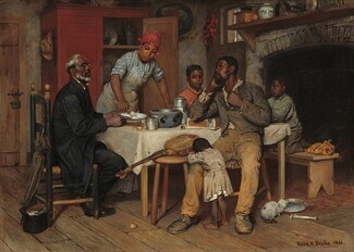 A group of six dark-skinned people gather around a table in a house. A bespectacled, white-haired pastor sits to our left opposite a man, presumably the husband and father, who sits to our right. Two small children gather around the man, one behind him and one leaning on his knee. Between the men, a woman, presumably the wife and mother, stands on the opposite side of the table, serving food to the pastor. On the table is a serving bowl, cup, kettle, and a wooden cigar box. Behind the woman, one door of a tall cupboard is ajar. A fireplace to the right has an opening as tall as the stooping woman. A banjo rests on a stool in front of the table.