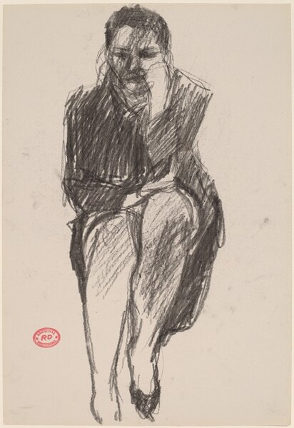 Untitled [seated woman in a dark coat]