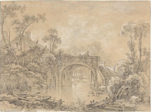Landscape with a Rustic Bridge