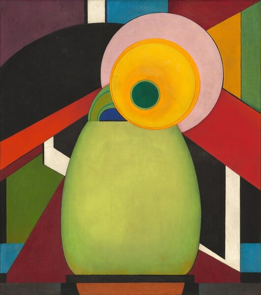 Geometric shapes and mostly flat areas of color suggest an abstracted sunflower in a vase against a background of vibrant bands of color in this vertical painting. A spring green oval shape takes up the middle of the lower half of this composition. Cut straight cross the top and bottom, it recalls a wide-mouthed vase. The head of the stylized flower seems to rest propped over or on the top edge of the vase. A pine green circle is outlined with celery green, and then surrounded by a larger, yellow disk to represent the head and petals of the flower. The yellow lightens from canary to goldenrod around the green disk within. Then, the yellow disk is outlined with a darker, honey color. The head of the flower is surrounded by a pale pink disk, almost like a halo. A stylized green stem curves from the blossom into the vase on our left. Bands and blocks of color make up the background in flat areas of crimson, black, eggplant purple, pumpkin orange, white, and shades of blue and green.
