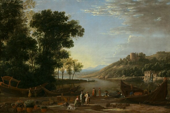 """As if hovering over a riverbank, we look slightly down onto a group of people gathered along the bank of a river that winds around a copse of tall trees to our left, past a tree-covered hill to our right, and into the deep distance in this horizontal landscape painting. The horizon line comes about a third of the way up the painting. More than a dozen people gather to converse in pairs or trios, or work loading a ship in the lower right corner of the composition. Most of the people seem to be men, except for two women who stand near a man who gesturing to our left at the lower center of the painting, and all the people seem to have light skin. The men loading the boat to our right wear pants and shirts in navy blue, gray, tan, or crimson-red. Men wearing hats and capes over suits near the lower center, and the women wear clothing in olive-green, butter-yellow, petal-pink, coral-red, or gray. Goods are strewn along the riverbank closest to us, including potted flowering plants to our left, a jumble of chairs, tables, and musical instruments nearby, and collections of wooden barrels to our right and in the lower left corner. Two more boats are moored at the shore in front of the grove of tall, forest-green, leafy trees that take up the left third of the composition. The sage-green surface of the river curves to our right, to a tree-covered hill with a watermill at its base. A stone structure with a large, central, round tower sits along the top of that hill. The river continues to wind into the deep distance, where towns nestle at the foot of rolling, slate-blue mountains along the horizon. The sky above is pale yellow along the horizon and deepens to pale blue above. Clouds sweeping in from the right are lit bright cream-white along their edges and are smoke-gray on the undersides. The artist signed and dated the painting as if he had written his name on the side of the boat in the lower left corner, though the inscription appears to be incomplete: """"CLAVDIO o I Vo 16"""