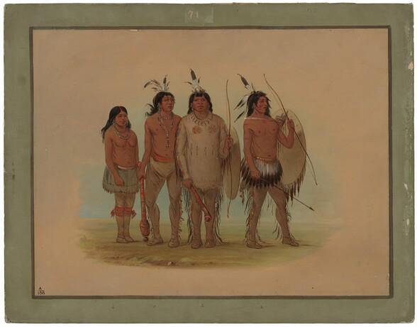 Kiowa Chief, His Wife, and Two Warriors