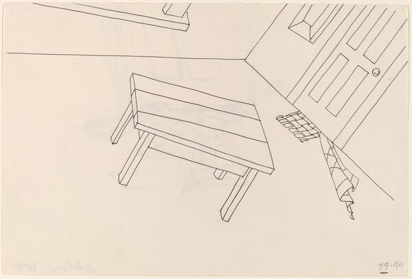 Basket, Table, Door, Window, Mirror, Rug #41 [recto]