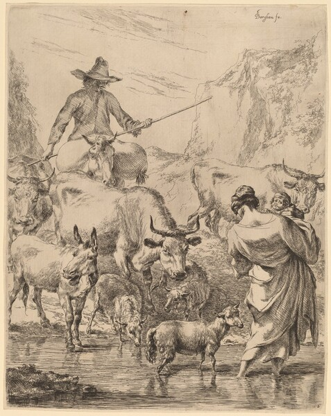 Herd Crossing the Brook
