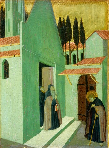 Three pale-skinned men wearing long, dark robes stand in and near a dense cluster of vivid, mint-green buildings with arched openings and clay-red colored roofs that nearly fill this vertical painting. Near the lower center of the composition, two bearded men stand in an open doorway looking out at the younger, clean-shaven man who stands barefoot to our right, facing them. At the door, the man in front has a long, white beard and he holds a red book, or manuscript, in his left hand while holding up his right hand with his first two fingers raised. The man behind him has a red beard and hair. The younger man to our right bows his head, encircled with a gold halo, toward the elders. He holds one hand over his heart and in the other holds a long, gnarled walking stick. The skin of all three men has a greenish cast. Light streams into the picture from our left, turning the walls in its path a pale mint green while those in shadow are a rich shade of emerald. The faces of the buildings are smooth and they enclose the space behind the men. The buildings are tall and narrow, and the walls and rooflines create a loose pattern of geometric shapes that zigzag across the space. Beyond the buildings, near the top of the panel, a row of tall, dark green trees with elliptically shaped foliage are silhouetted against the shiny gold sky. The gold background is punched with a decorative band of small circles and arches along the top edge of the panel.