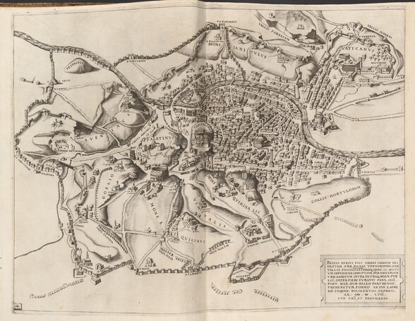"""Printed with black ink on ecru-white paper, this map shows a bird's-eye views of a river winding through a town surrounded by empty fields and hills, all encased in city walls. The buildings and fields are spaced over several hills, many of which are labeled in Latin in all capital letters. The hills are finely crosshatched to suggest depth and the buildings are drawn roughly in perspective, as if seen while looking across the city from a high vantage point. Near the center of the engraving, densely packed buildings separated by thin gaps to create irregular city blocks. The crowded blocks give way to open space and hills dotted with buildings, steeples, and ruins. Fragments of freestanding rows of arches in the fields to the south are the remains of aqueducts. The city wall is punctuated by arched openings framed by abutments that project above the top of the walls. The river winds from the top left corner of the paper to the center of the right edge, intersecting with the city walls in two places. Dozens of hills, features, landmarks, and buildings are labeled, including the round, domed """"PANTEON"""" in the middle of the town, """"CAPITOLINVS"""" a few blocks to our left, and """"PALANTINVS"""" to our left of center. Near the upper right corner of the paper, several building-lined streets lead up to a hill labeled """"VATICANVS."""" Beyond the city walls the page is almost entirely blank. The page is folded vertically up the center. In the lower right corner, an inscription in a tablet-like cartouche reads, """"RECENS RVRSVS POST OMNES OMNIVM DES CRIPTION. VRB, ROMAE TOPOGRAPHIA. CVM VALLIS. FOSSIS AGGRISVS CAETERISQ. QVAE AD HOSTI VM IMPEDIEND. IRRVPTION. PER VNIVERSVM VRB.AMBITVM INTRA EXTRAQ. MOEN. PVB LIC. IMPEN. FIERI CVRAVIT PAVL. IIII. PONT. MAX. DVM BELLO PARTHENOP. PREMERETVR. FORMIS ANTON.LAFRE RIL. SEQVAN. DILIGENTISS. EXPRESS. AN. D. LVII. CON GRA ET PREVILEGIO."""" A thin, line border frames the map near the edge of the paper."""