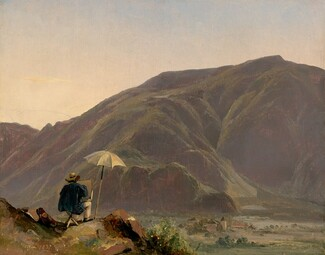 Jules Coignet, View of Bozen with a Painter, 1837