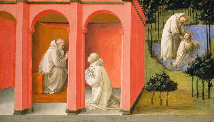 Two men are situated inside a coral-red building with arched openings that fills the left two-thirds of this composition, and two men are shown in a body of water in a simplified, almost stylized landscape to our right in this horizontal painting. The building recedes sharply into the space of the landscape without seeming to be part of it, and the men seem a little too large in relation to the water, trees, and the building to our left. The men all have pale, cream-colored skin and wear ivory-white robes. The red, arched building spans the entire height of the painting. Inside, a bearded man with a halo sits on a bench facing our right in profile as he holds up his right hand towards the cleanshaven man kneeling in front of him. Short, gold rays emanate from the younger man's shoulders as he looks up towards the older man with his hands tucked into his voluminous sleeves. In the landscape to our right, the two people both have blond hair and halos. One, either a man or a younger boy, seems to kneel in the pool, filling a pitcher with water. He turns to look toward the man standing behind him, who leans over and touches his shoulders. Trees with triangular canopies of dark green leaves have thin, spindly trunks placed regularly across the background with a few on the grassy ground closer to us.
