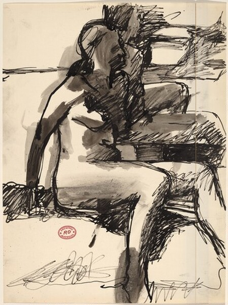Untitled [two seated female nudes facing right]