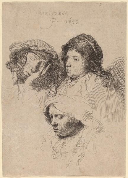 Three Heads of Women, One Asleep