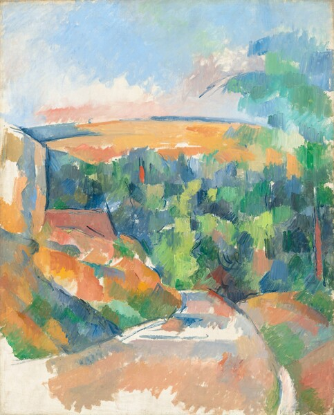 We seem to stand on a curving country road leading past a tall formation, perhaps rocks, to our left, towards a valley filled with trees and a low hill beyond in this vertical landscape. The painting is created almost entirely with patches of single, vibrant colors mostly in burnt orange, peach, salmon-pink, cobalt and sky blue, and lime and spring green creating an abstracted effect. Most of the patches are applied with visible vertical strokes. Areas of unpainted canvas create white patches, especially on and around the walking path in front of us. The tall formation to our left, painted mostly in oranges and pinks, could be a rocky outcropping or houses. The trees in the valley are painted entirely with blues and greens, and the low hill arching over the trees beyond comes about three-quarters of the way up the canvas. The sky above is blocked in with pale aquamarine-blue and a few touches of shell-pink along the horizon.