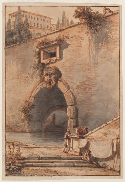 View of an Ancient Roman Bridge with a Mascaroon