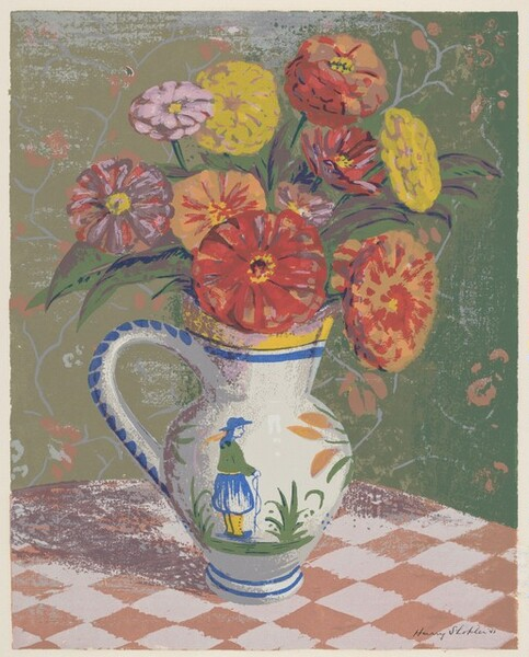 Zinnias in a Quimper Vase