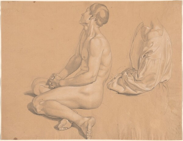A Seated Man Nude and then Clothed