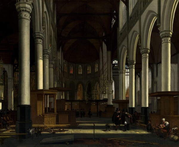 We stand in the central nave of a deeply shadowed church looking down towards the altar in this horizontal painting. Sunlight streams in from our right to bathe white pillars lining the nave with light, and it illuminates a wooden stall, like a private seating box, situated in front of the columns to our left. The forehead, eyes, and one hand of a young child peeks over the top edge of one of the panels, perhaps peering towards us. Touches of pale red and yellow suggest stained glass over the dimly lit altar at the far end of the church, across from us. Gold chandeliers with curling, scrolling arms hang along the length of the nave, well below the dark, vaulted ceiling. About a dozen of men wearing black enter the church in a line from the left, near the altar. Closer to us, to our right, two men lean towards each other in conversation with a dog nearby. One man gestures towards a rectangular stone slab that has been lifted from the church floor to reveal dirt underneath, to our left. Two shovels, a broom, and a skull lay nearby. In front of the men, in the lower right corner of the canvas, a woman sits and nurses a swaddled infant. A young boy and another dog near the pair looks towards or at us. Two dogs stand in the shadows around the column closest to us on the left, and one raises its leg to relieve itself on the base.