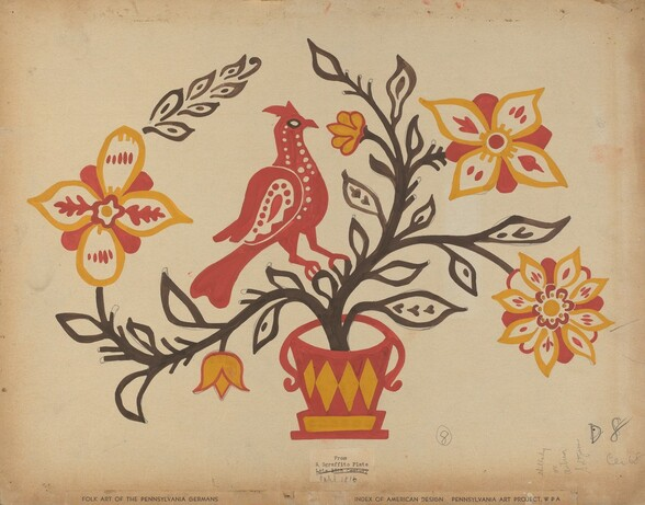 Drawing for Plate 8: From the Portfolio Folk Art of Rural Pennsylvania