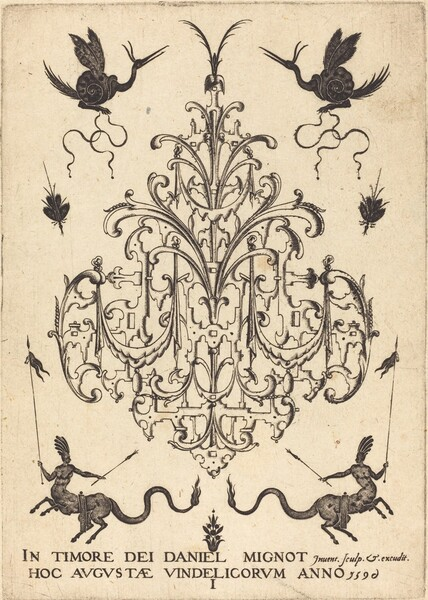 Title-Page: Brooch, Snail-like Animals  Above, Centaurs with Banners at Bottom