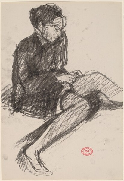 Untitled [woman putting on stockings]