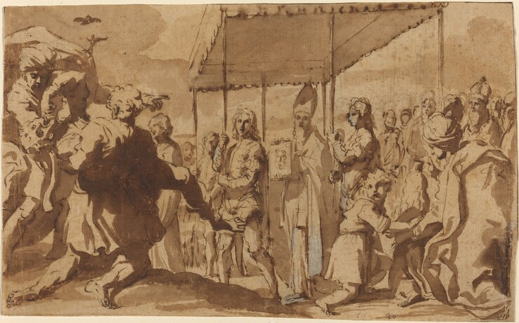 Elisabetta Sirani, The Healing of the Possessed Boy in a Procession of the Volto Santo, c. 1659c. 1659
