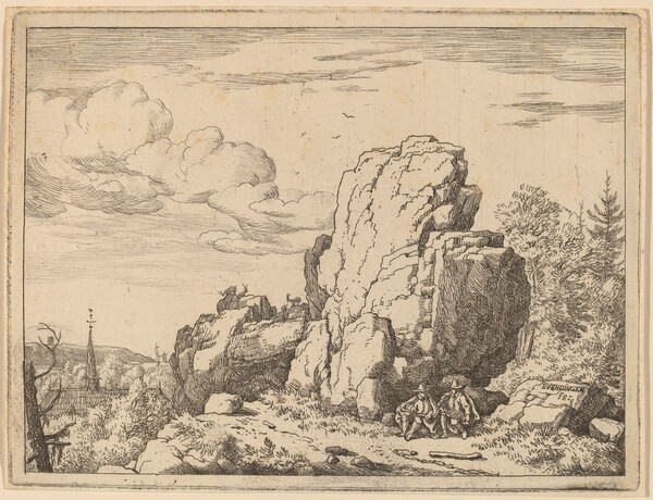 Two Men Seated at the Foot of a High Rock