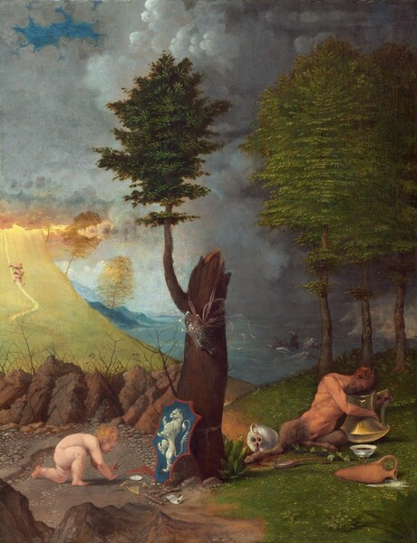 Set on a strip of land under a cloud-filled sky and in front of a stormy sea, a nude, swarthy complected satyr with a man's body and shaggy, goat's legs reclines to our right and peers into a large brass urn as a nude, pale-skinned, blond child crouches over some objects on the dirt ground to our left in this vertical landscape painting. The satyr leans over and peers into the golden urn, which has a round bottom and tall, flaring sides about the height of his torso. One hand holds the handle and the other wraps around the body of the urn. The tips of the satyr's ears are elongated and pointed, and the corner of his mouth curves up into an exaggerated smile in his brown beard. Red liquid pours from an object, perhaps an overturned urn, near the satyr's outstretched leg and white liquid pours from another urn between us and the satyr. Next to the satyr, at the center of the painting, a thick, upright tree trunk is broken off abruptly but one shoot grows tall with emerald-green leaves. A translucent, shield-shaped object decorated with an open-mouthed, human face hangs from a pink ribbon around the broken trunk near the branch. A shield outlined in red with a rearing, white lion against a royal blue field leans against the foot of the tree to our left. Nearby, the pale, naked child holds a pair of sticks, possibly a compass, and reaches for other objects on the ground near the shield, including a white disk, a pair of small, red-covered books, a square and possibly a plumb line, a flute, pan pipes, and a scroll of paper. The ground and landscape around both people are distinctly different. To our left, the dirt ground under the child is littered with small rocks. Beyond a row of larger boulders, a sweeping field of lemon-lime green sweeps up into a bank of clouds. A small nude person with dark forms, perhaps representing wings, on their shoulders, arms hips, and ankles ascends a path up towards the clouds. To our right, the satyr reclines on green grass in front of a 