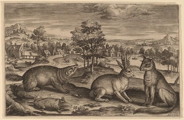 A Mole, a Badger, a Horned Hare and a Fox