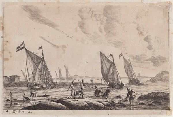 View of Inland Waterway with Fishermen