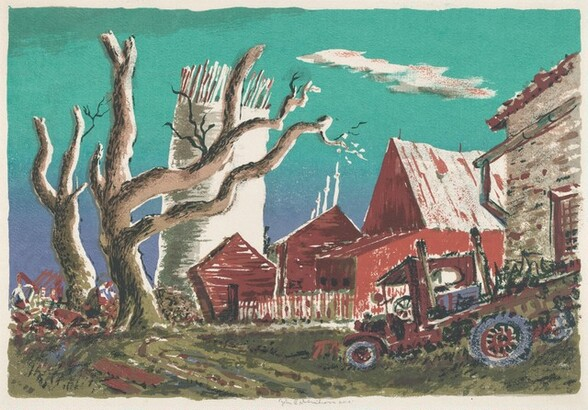 Red Barn with Flatbed Truck