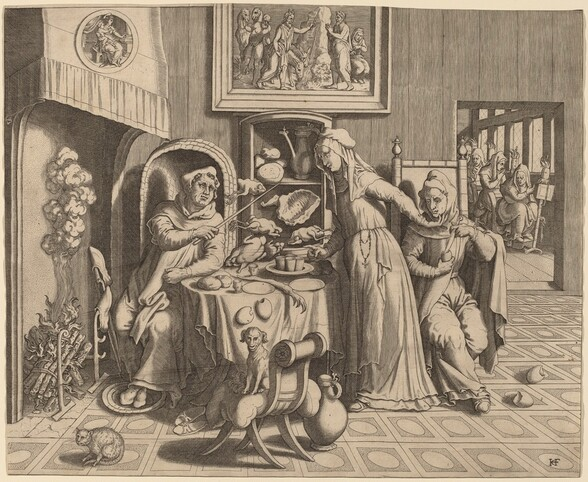 The Amorous Nun between the Abbot and the Monk