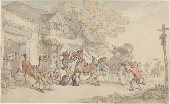 Changing Horses at a Post House in France