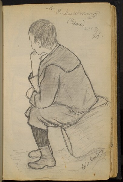 Boy Seated on Rock with His Hand on His Chin (R. Diestelmann)