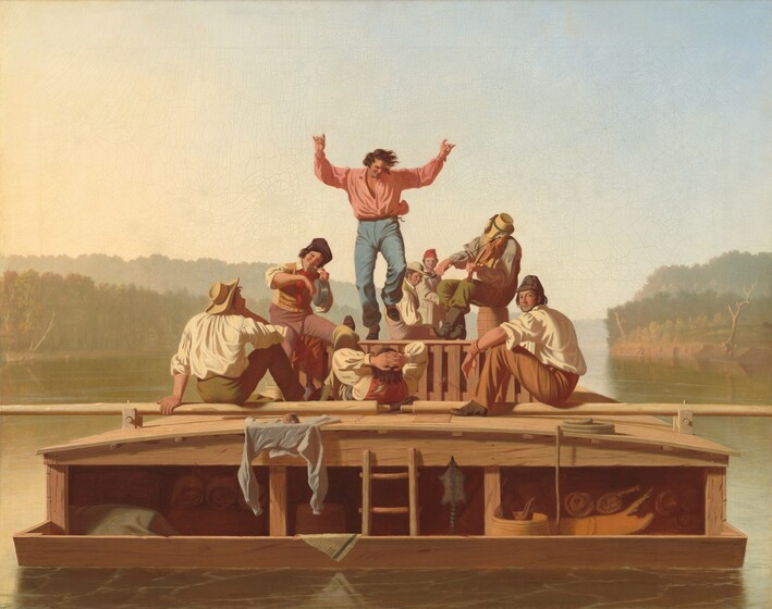 A flatboat with eight fair complexioned men floats towards us down a wide river in this horizontal painting. The boat nearly spans the width of the composition and has low sides and a shallowly arched, low cabin upon which the men gather. At the center, a man with dark hair and wearing light blue trousers and a pink shirt dances with one foot and both arms raised. To our right a seated musician plays a fiddle and to our left a smiling man holds up a metal pot and strikes the flat bottom with the back of his fingers. The remaining men sit or recline around the musicians and dancing man, some looking towards the dancer and two looking out at us. Bedrolls and animal skins are stored in the cabin below. The olive green surface of the river is streaked with pale blue. The horizon line comes about a third of the way up the composition. The trees and riverbanks in the distance are hazy beneath a watery blue sky.
