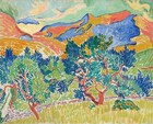 Trees and mountains nearly fill this composition and are painted with long, often parallel brushstrokes in this horizontal landscape. The trees are painted with strokes of royal and aquamarine blue, pine and mint green leaves on coral-colored trunks. The grass below is lemon-lime yellow and a walking path is picked out with lavender strokes. The mountains behind the trees are painted with more flat areas of coral and apricot oranges and cobalt blue. The sky above is pale turquoise with a few swirling, cream-colored clouds.