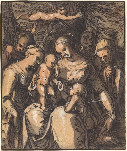 The Holy Family with Saints [recto]