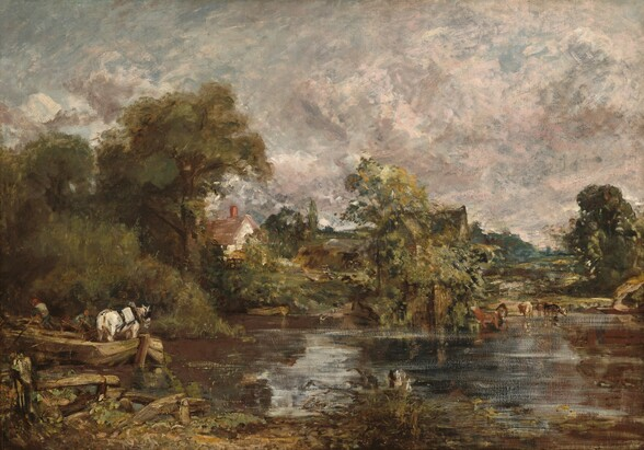 As if standing on a grassy riverbank, we look across the placid surface of a river that is lined along the opposite bank with trees and farm animals in this horizontal landscape painting. The scene is painted loosely with brushstrokes visible throughout, so some details are difficult to make out. For the surface of the river, russet brown and steel gray paint skims lightly across the canvas and leaves some unpainted areas visible, creating the effect of light shimmering on the still water. A palette of muted greens and browns conveys the calm country scene below a light and cloud-filled sky. On our left, a shallow wooden barge propelled along the stream by two men in red caps with long poles, carries a white horse wearing blinkers and a harness along the stream in front of us. The riverbank behind them is lined with pale, sage-green grass tinged with gold, growing in front of a tangle of darker green trees and bushes. Across the water from us near the middle of the picture, a small rowboat sits in the shallows at the foot of a steep riverbank. Above, a white cottage with a reddish roof and chimney is tucked behind the trees, with a wooden rack full of honey colored hay next to it. Nearby, a plow and wheeled cart, highlighted with strokes of white, sit near more mounds of hay painted with dashes of chocolate brown and dusty tan. Rocky fields reach into the distance. The vista is blocked to our right by another clump of trees and a rocky outcropping, rising from the stream, to our right of center. The steep, dark roof of a farmhouse is barely visible among the trees. Along the riverside to our right, a small group of cinnamon brown and cream-colored cows stand at water