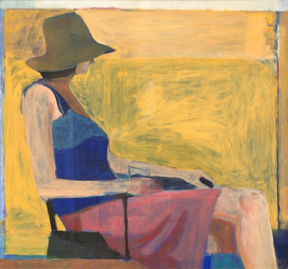 Shown from the calves up, a slender woman with peach-colored skin wearing a floppy hat covering most of her face, a sleeveless shirt, and a skirt sits facing our right in profile against a background of vivid pineapple yellow streaked with olive-green in this nearly square painting. The scene is loosely painted with broad, visible brushstrokes throughout. The woman's brimmed, dark taupe hat comes down to her pointed nose. Her lips seem closed and she has chin-length, brown hair. We get the sense that she might look away from us, into the distance beyond. She leans back in the chair and rests her arms along the thin, black arms of the chair. She holds a glass in her right hand, closer to us. Her tank top is cobalt blue and her skirt, which comes almost to her knees, is bubblegum pink. Her left leg is crossed over her right, and her ankles and feet are cropped by the bottom edge of the canvas. The yellow background behind her has an edge of royal blue close to the edges of the canvas to the left and right, and a block of the same color behind her legs, in the lower right corner.
