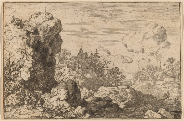 Three Travelers at the Foot of a High Rock