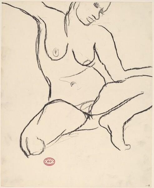 Untitled [crouching female nude]