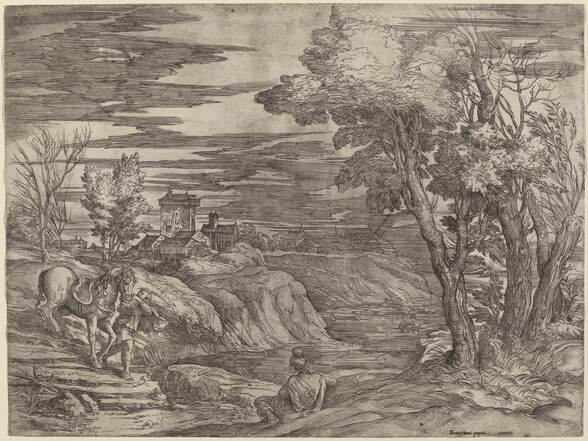 Landscape with a Man Leading a Horse