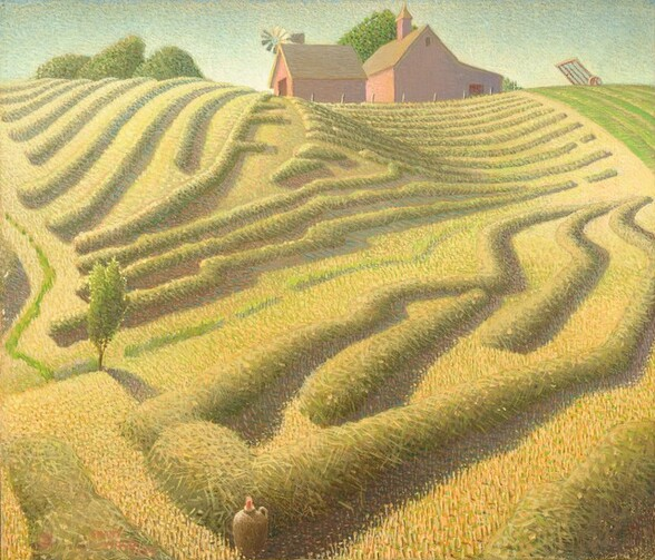 """Rolling, verdant farm fields bathed in sunlight fill most of this nearly square canvas. The painting is stylized and emphasizes the patterns, shapes, and forms created by the rows of gold-green hay. The landscape is painted with short strokes of the brush interspersed with minute reddish-orange, pink, and turquoise accents. The horizon line is high, almost at the top of the painting, to which a hill rises up. Below, following the downward slope of the hill, roughly parallel rows of harvested hay are bundled into distinctive tube-like mounds, with paths between them, roughly following the contours of the land diagonally toward the lower left of the painting. The field is interrupted only by a small, solitary young tree near the lower left corner. Two dark-red barns or outbuildings with steeply pitched tan colored roofs perch at the top of the hill. They stand outlined against a light, clear blue sky at the top center of the composition. Several rounded trees in full leaf stand beyond the buildings. A large weathervane with flat, blade-like paddles and extended tail sits atop the smaller barn. The other, larger building has a higher pitched roof with a small cupola on top and a wide door on the right side where the roof slopes down to a lean-to type structure. At the top right corner of the painting is a triangular shaped patch of field with short, bright green shoots or grass. A piece of farm machinery with a wheel and frame is parked in the field at the top right. At the bottom center of the canvas, a brown ceramic jug with a handle and red stopper rests on the ground in between the rows of bundled hay. The artist signed and dated the work with red paint in the bottom left corner: """"GRANT WOOD 1939."""" There is also a red painted copyright symbol to the left of the name."""