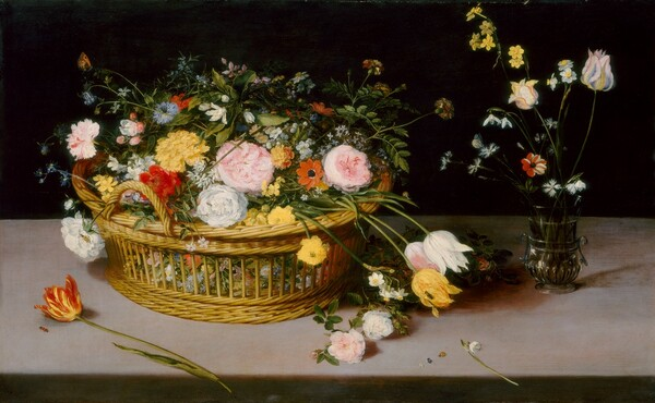 A pile of flowers overflows a straw basket resting atop a long pink marble table against an inky background in this horizontal still-life painting. Light coming from the foreground illuminates the flowers and crisscrossing green stems and leaves. The flowers are painted in great detail, with every petal and leaf, color gradation, and vein visible. These include tulips, anemones, columbines, and roses, and other flowers in butter yellow, coral orange, blush pink, pale blue, and white. Amid the flowers are two black and yellow bees, along with a tiny snail making its way down a narrow green frond. A small orange and black butterfly or moth perches at the top left of the picture, clinging to a bud atop a thin green stem. The basket, of yellow woven straw, is round and wide with handles on either side, and appears to have a shallow tray for collecting large flowers. The tray sits within the round basket with open sides through which smaller blooms are visible. We seem to look slightly down onto the table, which spans the width of the composition. Around the basket, a few stems of flowers have fallen onto the table, and a tiny lady bug crawls across the tabletop near us. To the right side of the basket rests a small, green glass vase with flutes and looped handles. It holds a handful of tiny, delicate blooms in white, blue and red striped. A blue-winged butterfly has alighted on one of them.