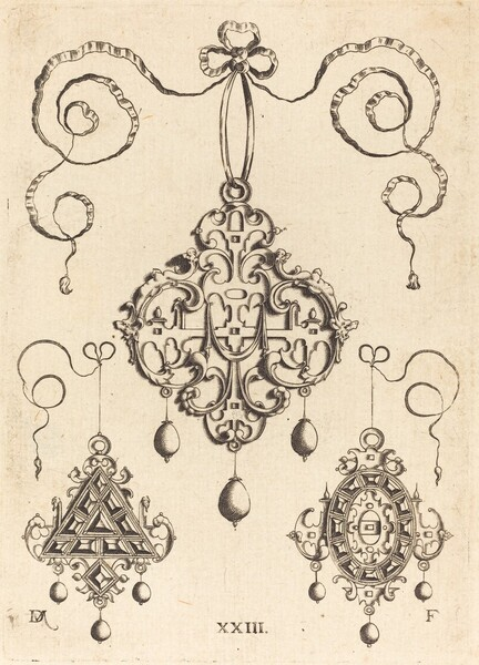 Three Strapwork Pendants, The Lower Ones Triangular and Oval