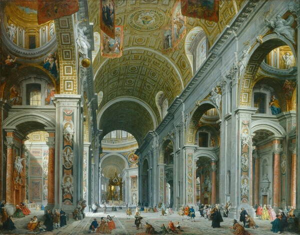 The soaring, curved, gilded vault of a grandiose central aisle of the inside of a church fills this horizontal painting. The ceiling of the nave curves up and away from us like a tunnel. It is lined with coffers to look like inset panels decorated with gold. The light-filled nave angles down from the top center of the composition towards the lower left as it moves away from us. The white stone pillars supporting the barrel vault are intricately carved and decorated with cherubs holding portraits of men, and aisles run parallel to the central nave to our left and right. In the side aisles, pink marble columns flank altars in chapels. At the far end of the church, the nave is interrupted where it opens into the light-filled crossing, before continuing beyond. Marking the space where the long hall of the church is intersected by a shorter arm to create a cross shape is a structure made of four twisting columns supporting a pointed canopy, all cast in bronze. Tiny men and women pray or gather in pairs and small groups along the nave. Some wear tattered clothing and others are elegantly dressed.