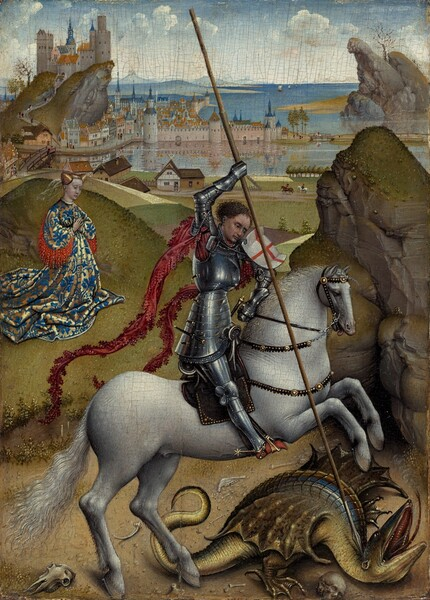 A man wearing armor and riding a rearing gray horse pins a winged, reptile-like dragon to the ground using a long lance at the center of this vertical landscape painting. A woman kneels beyond the man and dragon to our left, and mountains and a city lining a body of water stretch into the deep distance. The man's gleaming silver armor covers his whole body except his feet, his pale peach face, and brown hair. Two long strips of burgundy colored material unfurl from under his arms to flutter behind him like banners. A white shield with a red cross is propped on his upper left arm, and he holds the lance with his right hand high over his head. The lance spans nearly the whole composition, creating a diagonal from near the top edge to the lower right corner, where it almost pierces the back of the dragon's neck. The olive green dragon has a royal blue stripe down its back and tail, and it opens its beak-like mouth and sticks out its long, forked tongue. Skulls and bones are scattered on the ground around the dragon. The woman to our left has creamy white skin and her golden hair is bound up and covered with a translucent veil. Her long, high-necked dress is patterned with blue and gold, and red fringe or fabric drapes down from the underside of the sleeves. Buildings cluster at the top of a projecting ridge above the woman in the background, and more buildings line the edge of a body of water below. Ships with unfurled sails pass by blue mountains in the distance. The horizon line comes three-quarters of the way up the panel and the blue sky is dotted with clouds.