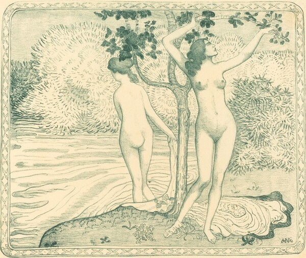 Two Nude Bathers under a Tree on the Water Bank (Deux baigneuses nues sous un arbre au bord de l