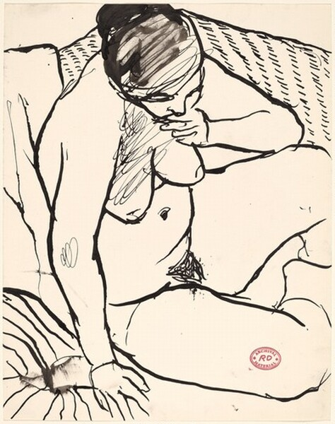 Untitled [seated female nude in thought]