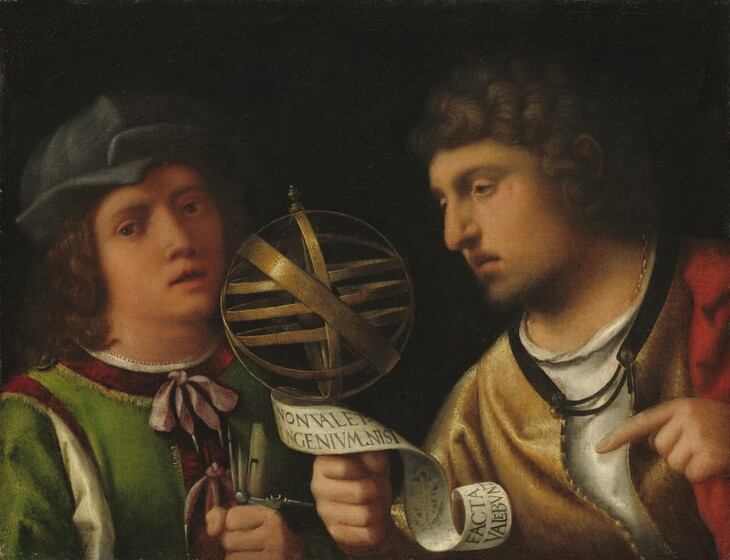 """Seen from the chest up against a black background, two men with peach-colored skin, one holding a brass-colored sphere made up of interlocking bands, fill this horizontal portrait painting. To our left, a boy or young man looks at us with dark eyes and his coral-pink lips are parted. His curly brown hair falls to his shoulders, and he wears a floppy, denim-blue hat. His emerald green tunic is lined around the neck, shoulders, and down the front with bands of ruby red, and the neck is tied with a lilac-pink ribbon. A white shirt underneath shows at the neck and down a slit along the shoulder we can see. Along the bottom edge of the composition, the boy grips a paint brush, a quill pen, a flute, and a compass in his left fist. The man to our right looks toward the boy almost in profile and leans toward him. The man has ash-brown, curly hair and the suggestion of a short beard on his chin. He has hooded eyes, a prominent nose, and his downturned lips are also parted. He wears a honey-yellow tunic over a white undergarment, and a swath of scarlet red over his left shoulder, to our right, could be a cloak. In the space between the people, he holds up the armillary sphere, made up of connected bands, in his right hand, on our left. A long, white scroll curls around the handle of the sphere, the man's hand, and down near his wrist. The scroll is inscribed, """"NON VALET. INGENIVM.NISI FACTA/ VALEBVNT."""" He looks toward the sphere and points to it with his opposite hand as well. The paint is blended, especially in the faces, giving the portrait a soft look."""